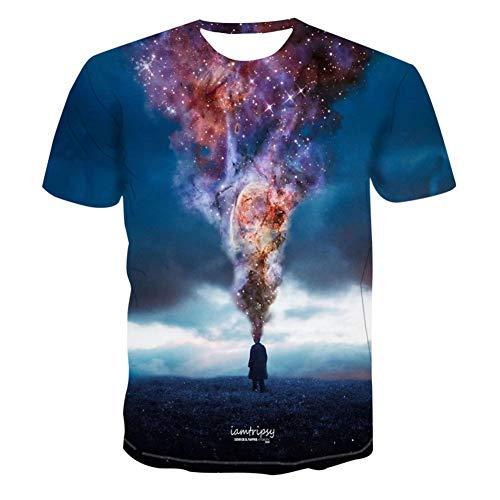 3D-Mode abstrakte kreative Raumfahrer Cartoon Farbbild T-Shirt Herren Modetrend cool wild