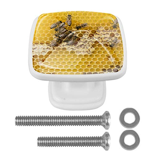 Juego de 4 pomos de cristal para gabinete de 1,18 pulgadas, tiradores transparentes para cocina, gabinete de baño, aparador y armario, abejas de panal, amarillo