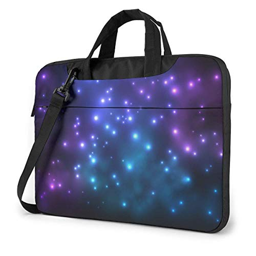 15.6 inch Laptop Shoulder Briefcase Messenger Brilliant Galaxy Strarry Sky Glowing Purple Neon Tablet Bussiness Carrying Handbag Case Sleeve