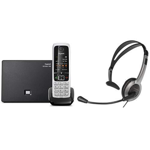 Gigaset C430A Go Telefon - Schnurlostelefon/Mobilteil - mit TFT-Farbdisplay/Dect-Telefon - mit Anrufbeantworter/Freisprechfunktion Schwarz & Panasonic RP-TCA430E-S Headset für KX-TGxx Serie