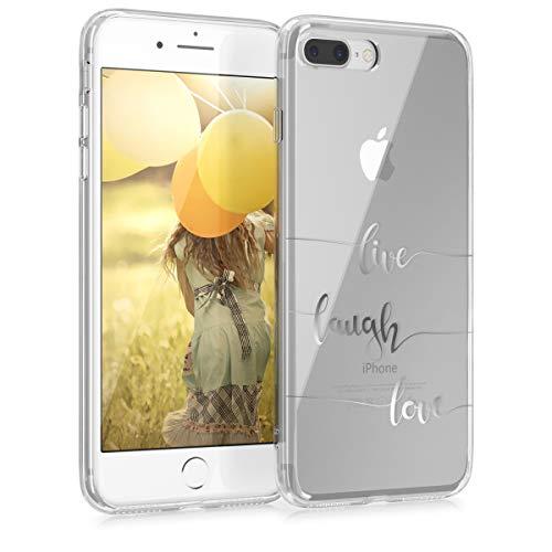 kwmobile Funda para Apple iPhone 7 Plus / 8 Plus - Carcasa Protectora de TPU con diseño Live, Laugh, Love en Plata/Transparente