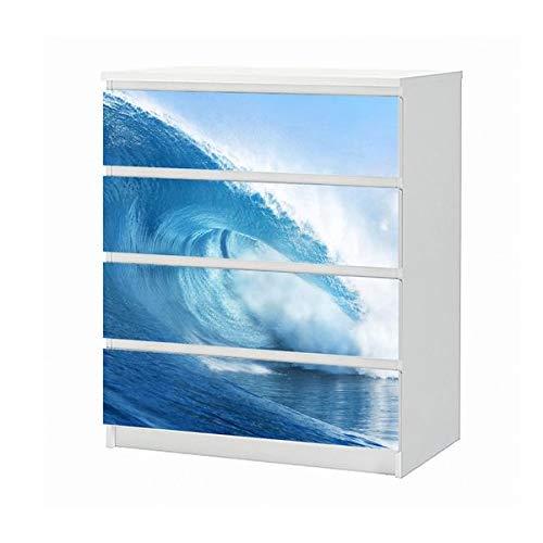 Set Möbelaufkleber für Ikea Kommode MALM 4 Fächer/Schubladen Wasser Welle Meer Ozean surfen Aufkleber Möbelfolie sticker (Ohne Möbel) Folie 25B413