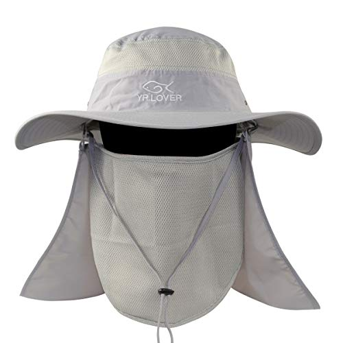 Momoon New Outdoor Sun Hat with Removable Neck Face Flap Fishing Hat Safari UPF 51+ UV Sun Protection Bucket Cap Mesh Boonie Hat for Outdoor Sports & Travel Light Gray