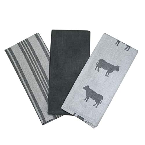 Kitchen Dish Towel by F.E.D, Extra Large Tea Towel in 3 Variations, 100% Professional Cotton, Machine Washable Fabric (Set/Pack of 3) (Grey Cow) Arizona