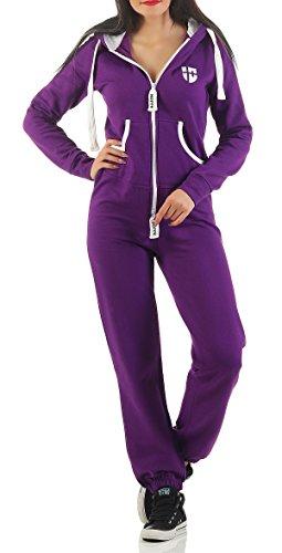 Hoppe Gennadi Damen Jumpsuit Onesie Jogger Einteiler Overall Jogging Anzug Trainingsanzug - Slim FIT,lila,S