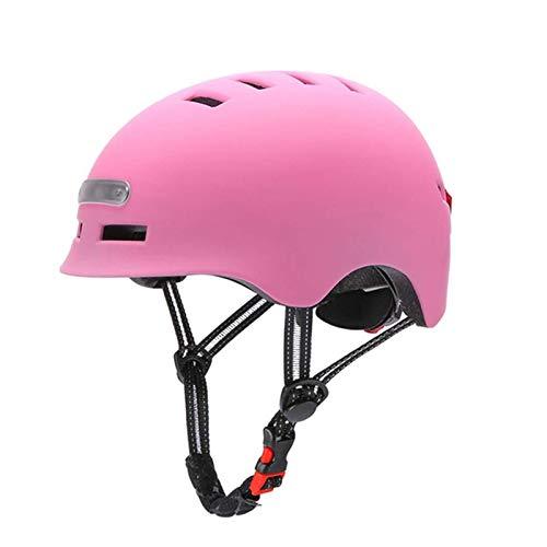 Ciclismo Smart Tail Light Bike Casco Adulto Bicicleta Eléctrica MTB Scooter De La Carretera para Hombres Mujeres Skateboards Bike Scooters Sport Outfit (Color : M, Size : Pink)
