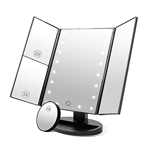 Dolovemk - Espejo iluminado de maquillaje, espejo de escritorio triple en 2, 3 y 10 aumentos, 22 luces LED regulables, sensor táctil iluminado, de belleza, plegable, con soporte de inclinación