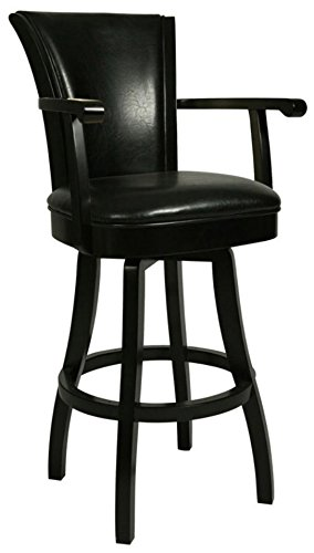Hot Sale Pastel Furniture GL-217-30-FB-865 Glenwood Swivel Barstool with Arms, 30-Inch, Feher Black and Black Leather