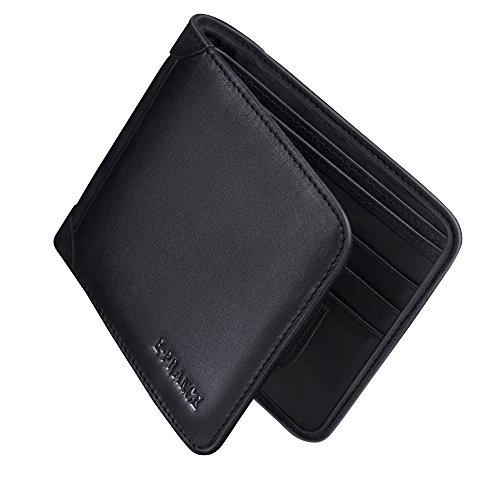 E-PRANCE Portafogli, Nero Uomo Morbido Vera Pelle Portafoglio Carte di credito Titolare in formato verticale del modello