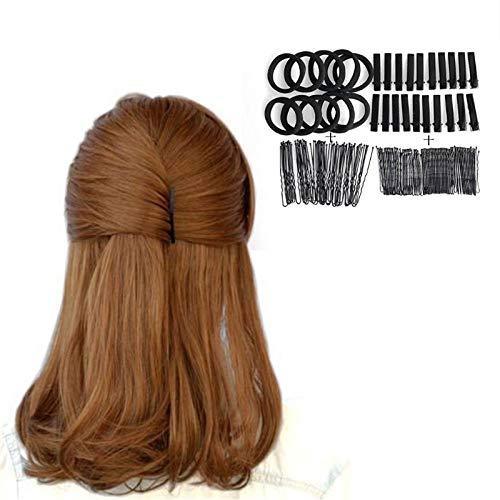 40Pcs U Forme Barrette 40Pcs Broches 20Pcs Duckbill Clips 10Pcs Bande Élastique Maquillage Noir Invisible Hair Styling Accessory