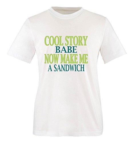 Comedy Shirts - Cool Story Babe. Now Make me a Sandwich - Herren T-Shirt - Weiss/Türkis-Hellgrün Gr. XL
