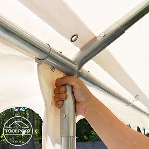 TOOLPORT Party-Zelt Festzelt 4x8 m Garten-Pavillon -Zelt ca. 500g/m² PVC Plane in weiß Wasserdicht - 2