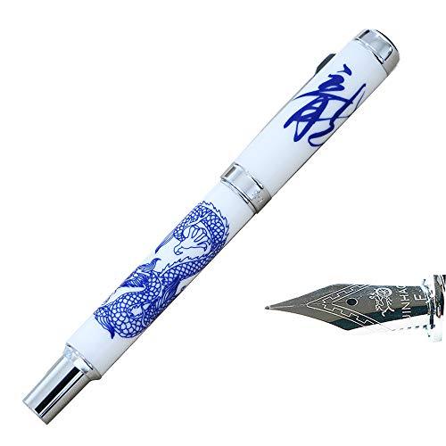 Jinhao 950azul y blanco porcelana dragón 0.5mm Punta Media Escritura Suave Borde Interior plateado pluma estilográfica
