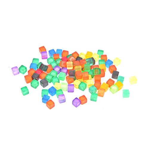 WWmily 100 / 200 Stück 8 mm quadratische Ecke, bunte Kristall-Würfel für Brettspiele/Bar-Aktivitäten/Casino-Theme/Partyzubehör/Spielzeug.
