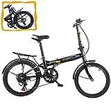 Folding Bike- YAWOTS 20-inch Foldable Bike, 7 Speed Leisure City Folding Mini Compact Bike with Back Seat Urban Commuters City Mountain Bike Black