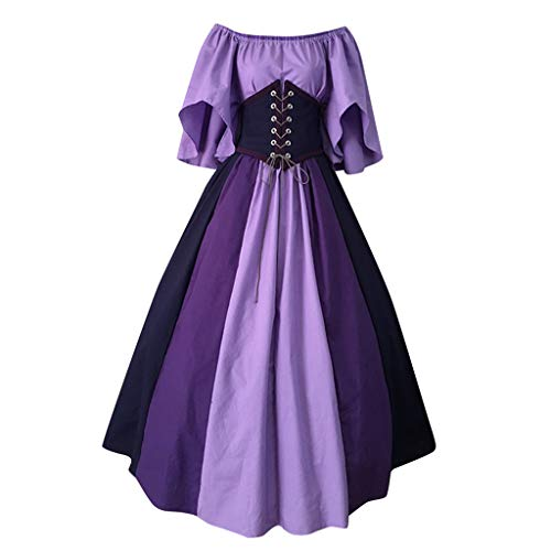 POPLY Damen Vintage Kleid, Frauen Elegante Langes Swing Kleid Halloween Kostüm Kontrastfarbe Nähen Spitze Krawatte Taille Sexy Slash Neck Party Kleider Cocktailkleid