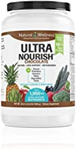 Natural Wellness UltraNourish Chocolate Vegetarian Superfood Shake - Total Body Support for The Liver, Heart, and Digestive Health - 38.3 oz - 16g Pea Protein Powder Drink Mix - 30 Servings