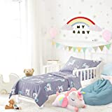 Uozzi Bedding 4 Piece Blue-Gray Unicorn Toddler Bedding Set with Rainbow Stars
