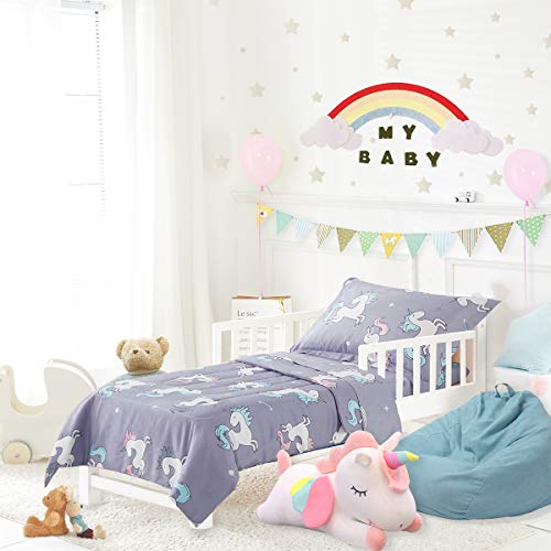 Uozzi Bedding Unicorn 4 Piece Toddler Bedding Set with Rainbow Stars Blue-Gray - Includes Adorable Quilted Comforter, Fitted Sheet, Top Sheet, and Pillow Case for Girls Boys Bed
