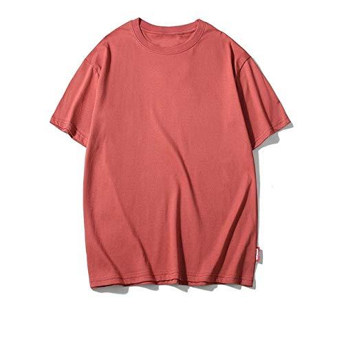 GVDFSEYL Casual Coton Solide T-Shirts Hommes Femmes Hip Hop Ras du Cou à Manches Courtes Blanc Streetwear Hauts T-Shirts été mâle T-Shirts 3XL Asiatique S rouillé Rouge
