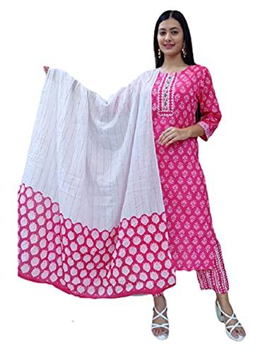 Étnico Verano Suave Algodón Rosa Recta Kurti y pantalón Blanco Dupatta Mujer mano Trabajo Conjunto 474i - - XL