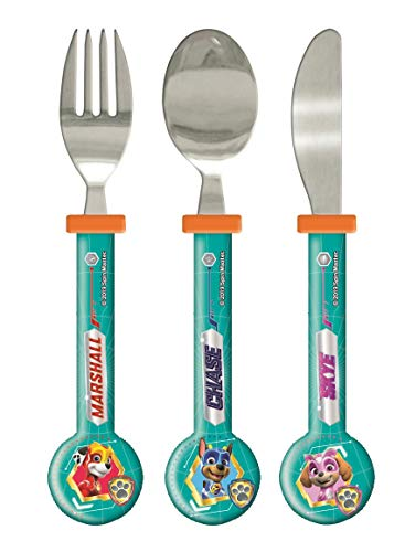 PAW Patrol Mighty Pups 3PCS Metal Cutlery Set for Children - Elliptical Knife, Fork and Spoon with Kids Favorite Cartoon Characters