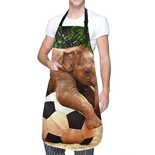 Schürze mit Tasche und verstellbaren Bändern, Elefantenspiel, Fußballspiel, für Herren und Damen, digitale Schürze zum Kochen, Backen, Basteln, Gartenarbeit