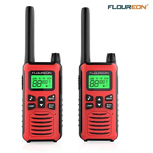 FLOUREON Talkie Walkie 2Pcs 16 Canaux Rechargeable Radio Bidirectionnelle Emetteur Récepteur Portée 5KM Max...