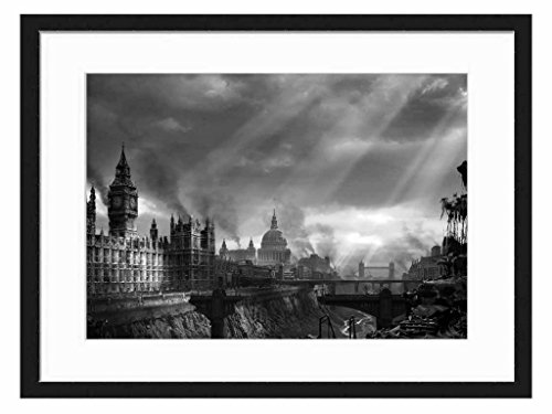 Hellgate, London - Art Print Wall Solid Wood Framed Picture (Black & White 20x14 inches)