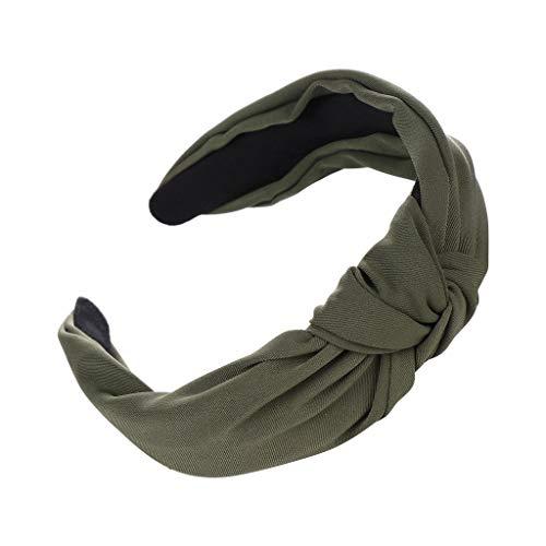 Wascoo Haarreif Damen Vintage Breit Haarband Retro Stirnband Haarreifen mit knoten Kopf Warp Boho Turban Yoga Sport(Armeegrün)