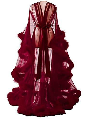 Minetom Maxikleid Damen Langes Kleid Langarm Sexy Perspektive Nachthemd Bademantel Nachtwäsche Festliche Kleider mit Gürtel Weinrot Einheitsgröße