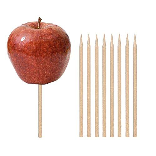 Wooden Candy Apple Skewer Sticks 100 PCS Birch Wooden Cotton Candy Stick Rock Candy Stick Skewer Semi Pointed Lollipop Sticks 525quot x 025quot by HANSGO