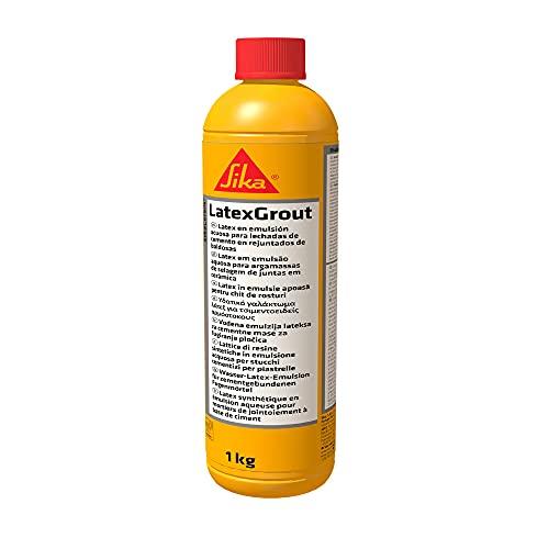Sika Ceram LatexGrout, emulsión acuosa de resinas sintéticas y aditivos específicos que se utiliza en lugar de agua de masa, para mezclar lechadas cementadas, blanco, 1 kg