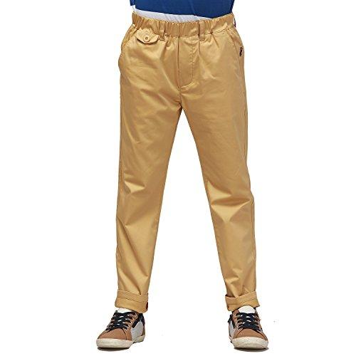 Leo&Lily Big Boys' Regular Fit Elastic Waist Stretch Casual Pants (Khaki, 14)