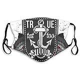 N/C Hausgemachtes Tattoo Design Old School Stil Halbgesicht winddicht Anti-Staub für Damen Herren...