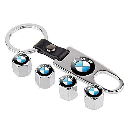 Doca Lot de 4 bouchons de valve en alliage pour valve de pneu de voiture avec porte-clés