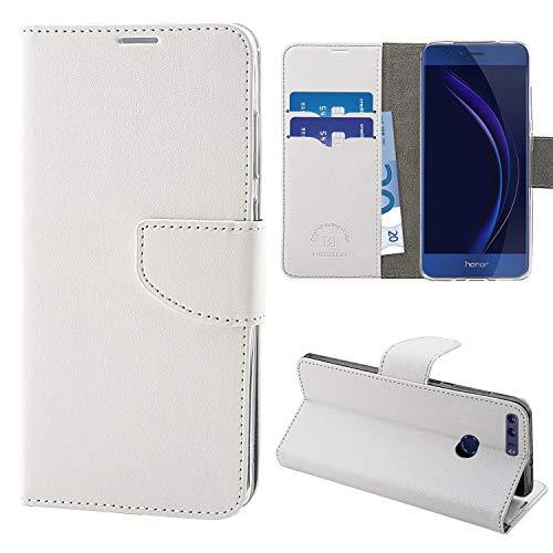 N NEWTOP Cover Compatibile per Huawei Honor 8, HQ Lateral Custodia Libro Flip Chiusura Magnetica Portafoglio Simil Pelle Stand (Bianca)