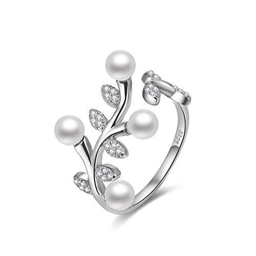 RKWEI Ringe Für 925 Sterling Silber Olivenbaum Blätter Perle Öffnungsring Damen Verstellbarer Schmuck