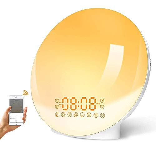[Updated Version] LBell Wake Up Light Smart WiFi Alarm Clock with APP & Voice Control Sunrise/Sunset Simulation 4 Alarms Snooze Function FM Radio 7 Colors Bedside Night Light for Alexa/Google Home