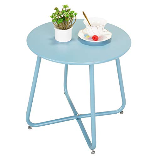 Grand patio Premium Indoor/Outdoor Round Metal Weather-Resistant Side/Accent Table for Patio, Yard, Balcony, Garden (Blue)