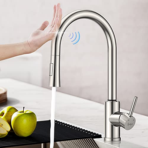 Synlyn Touch Sensor Küchenarmatur Ausziehbar Spültischarmatur Küche Armatur mit Brause Einhandmischer aus Edelstahl 360° Drehbare Mischbatterie Hochdruck Wasserhahn Einhand-Spültischbatterie