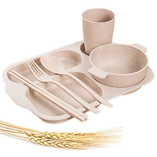 Greenandlife - Plato de porción dividido irrompible, fibra de paja de trigo, apto para microondas y lavavajillas, plato, cuenco, taza, tenedor, cuchara, palillos de 6 piezas para niños y adultos