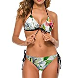 Bikini traje de baño para mujer acuarela flores hojas dos piezas traje de baño señora traje de baño vacaciones V-cuello ropa de baño, Blanco-estilo1, S