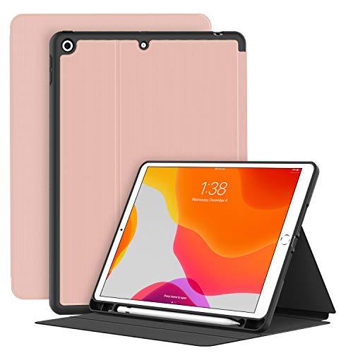 Soke Funda para nuevo iPad de 8ª generación 2020 (iPad 7ª generación 2019), funda de TPU con función atril, función de encendido y apagado automático para iPad de 10,2 pulgadas, color rosa