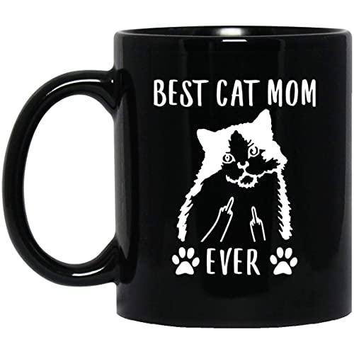 N\A Taza de café Negra del Dedo Medio de la Mejor mamá Gato Ragamuffin Divertida