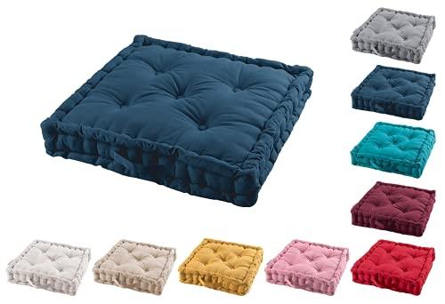 TIENDAEURASIA® Cojines de Suelo - 100% Algodón Lisa - Ideal para sillas, Bancos, palets, Suelos - Uso Interior y Exterior (Azul Marino, 60 x 60 x 10 cm)
