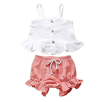 bilison Toddler Baby Girls Summer Clothes Button Sleeveless Crop Tops + Mini Shorts Outfits 18Pcs Clothing Set by
