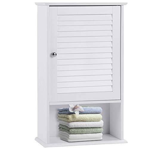 GOPLUS Wandschrank für Badezimmer, Hängender Badezimmerschrank aus MDP, Badschrank Küchenschrank Medizinschrank mit Tür und Einlageboden, mit Höhenverstellbarem Fach, 42 x 17 x 70 cm in Weiß
