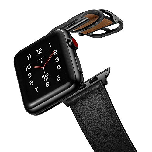 amBand Leather Band Compatible with Apple Watch 42mm 44mm, Genuine Leather Vintage Replacement Strap Classic Bands Buckle Compatible with Apple Watch SE and iWatch Series 6/5/4/3/2/1 Black