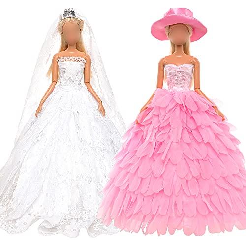 Miunana 2 Kleidung Kleider Abendkleider Brautkleider Prinzessin mit Hut Brautschleier Hochzeit Puppenkleidung für 11,5 Inch Puppen